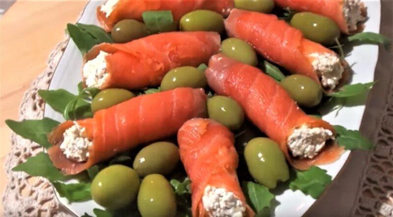 закусочные роллы из красной рыбы