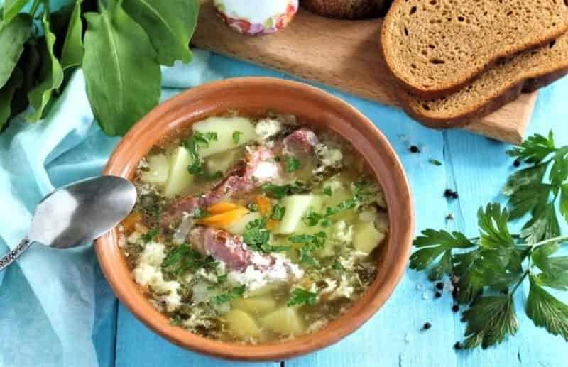 суп со свининой и щавелем