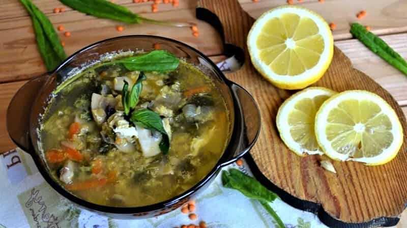 грибной суп со щавелем