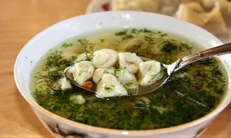 картофельный суп с пельменями