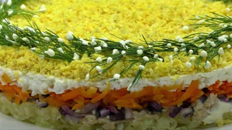 вид сбоку на салат