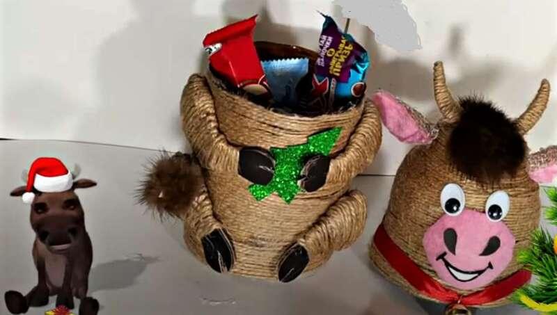 съедобные подарки в сувенире Бык