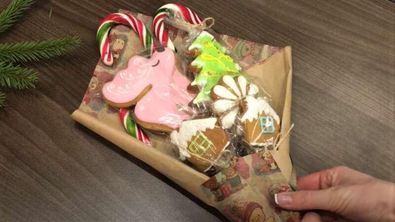 съедобные подарки в виде букета из пряников