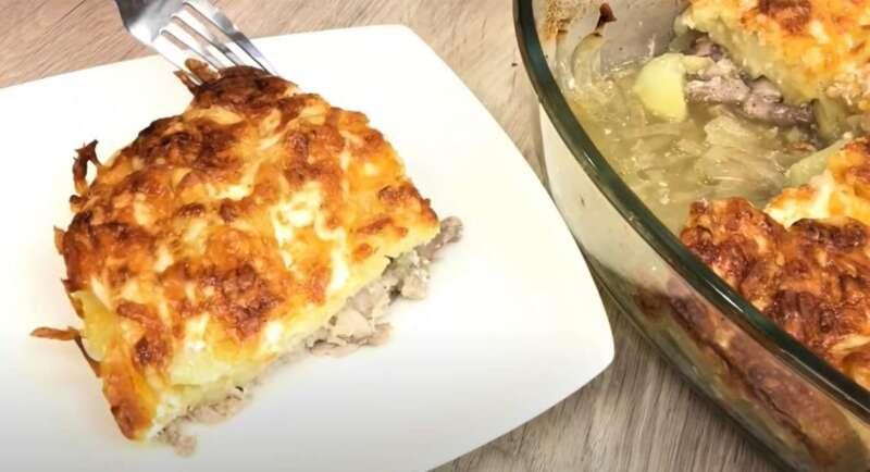 порция - мясо с картошкой в духовке