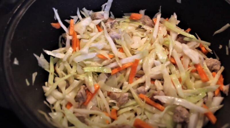 обжарка овощей со свининой