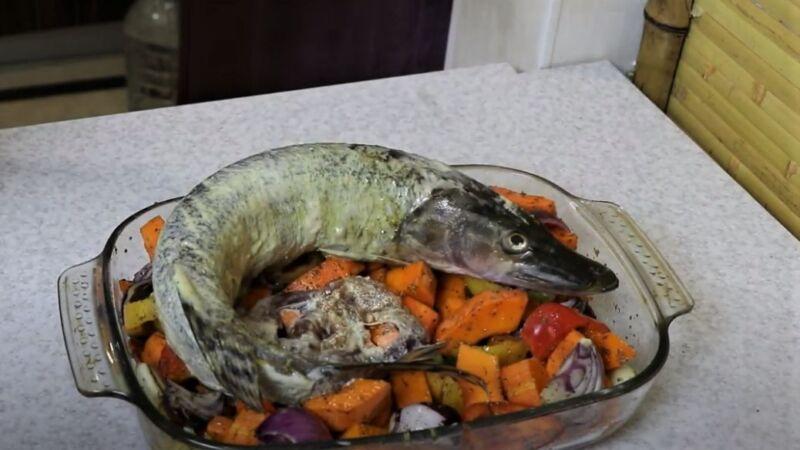 фаршированная щука на овощах - как приготовить щуку
