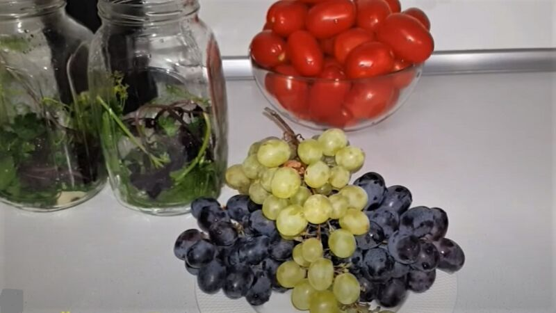 виноград и помидоры